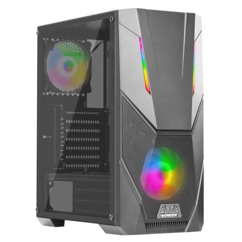 مشخصات قیمت و خرید کیس گیمینگ و رندرینگ آریا گرین با کارت گرافیک GTX1660 6GB و سی پی یو CPU i5 9400f